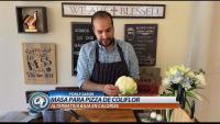 Receta para hacer masa y preparar pizza de coliflor