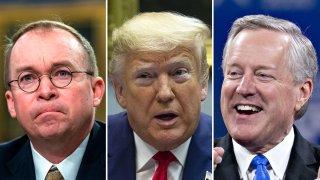 Combinación de fotografías de Mick Mulvaney, el presidente Donald Trump y el congresista Mark Meadows.