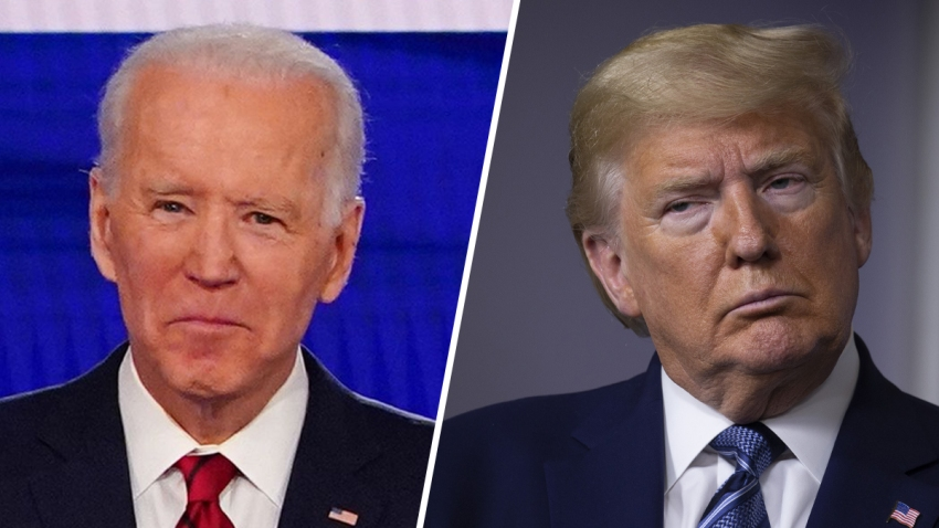 Former Vice-President Joe Biden (left) and President Donald Trump (right).