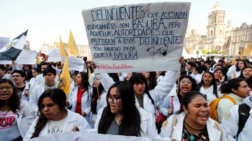 Protesta de estudiantes de medicina