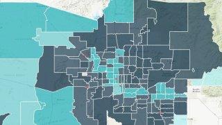 Mapa: tasas de vacunación por código postal en Maricopa