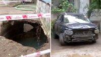 En video: socavón se traga el vehículo de una familia