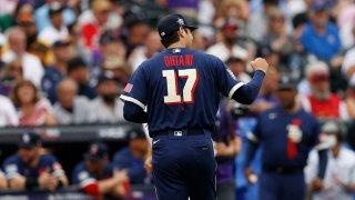 El japonés Shohei Ohtani en acción durante el Juego de las Estrellas del béisbol de las Grandes Ligas en el Coors Field en Denver, Colorado.