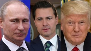 Tres rostros del presidente Putin, Enrique Peña Nieto y Donald Trump