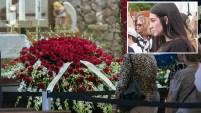 María Arias, quien espera un bebé del fallecido pelotero, estuvo presente este miércoles en el emotivo servicio fúnebre. Aquí las fotos.