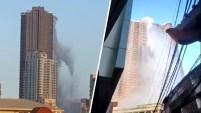 """Un edificio en Manila, Filipinas, fue captado en video durante un terremoto de magnitud 6.1 el lunes. El edificio """"Anchor skysuites"""" guarda agua para..."""