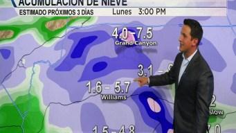 Aviso de tormenta invernal en el pronóstico del tiempo