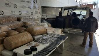 Confiscan bazuca para lanzar droga por la frontera