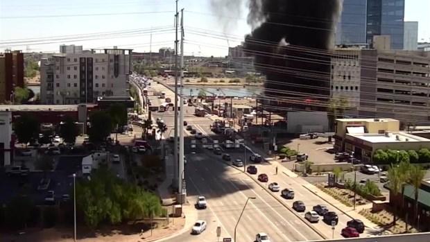 Incendio de edificio en construcción en Tempe