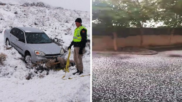 Fotos: Nieve al norte, nieve al sur y granizo en el Valle