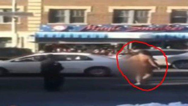 Video: Hombre desnudo siembra el caos