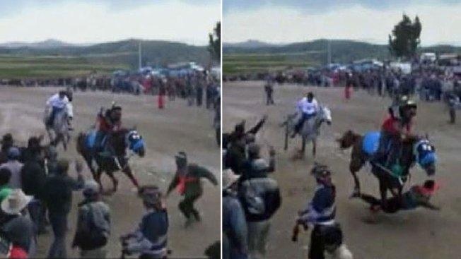 En video: muere al meterse en carrera de caballos