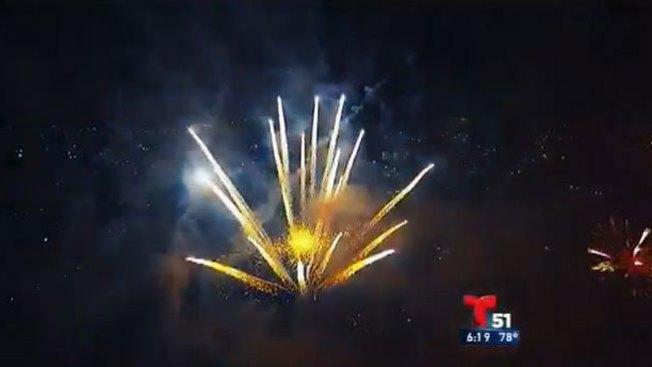 Drone capta festival de fuegos artificiales