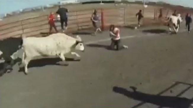 Hispano embestido por toros en Texas