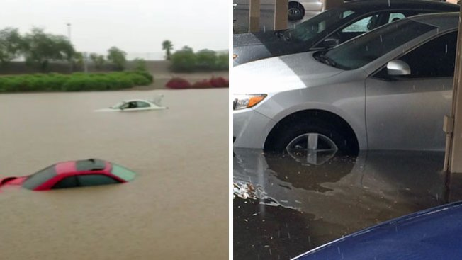 Inundación cubre decenas de autos